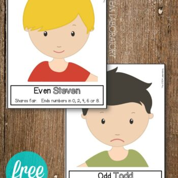 Brilliant! Odd Todd and Even Steven Posters. Such a fun way to teach kids odd and even numbers.