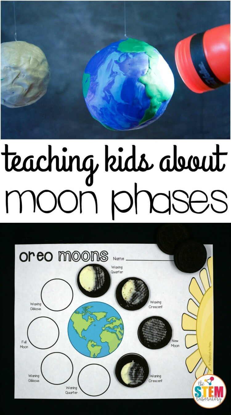 I love these moon phase activities for kids! Make Oreo moon phases and use a flashlight to explain why the moon changes. Great hands-on science for kids.