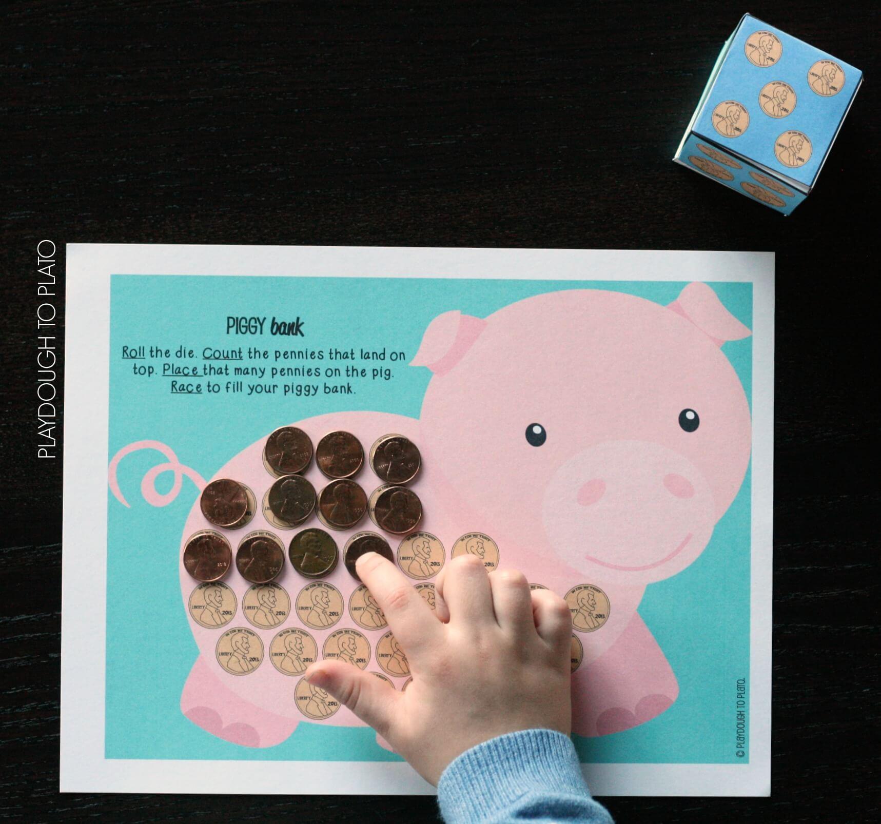 Race-to-fill-the-piggy-bank.-Fun-preschool-math-game - The Stem ...