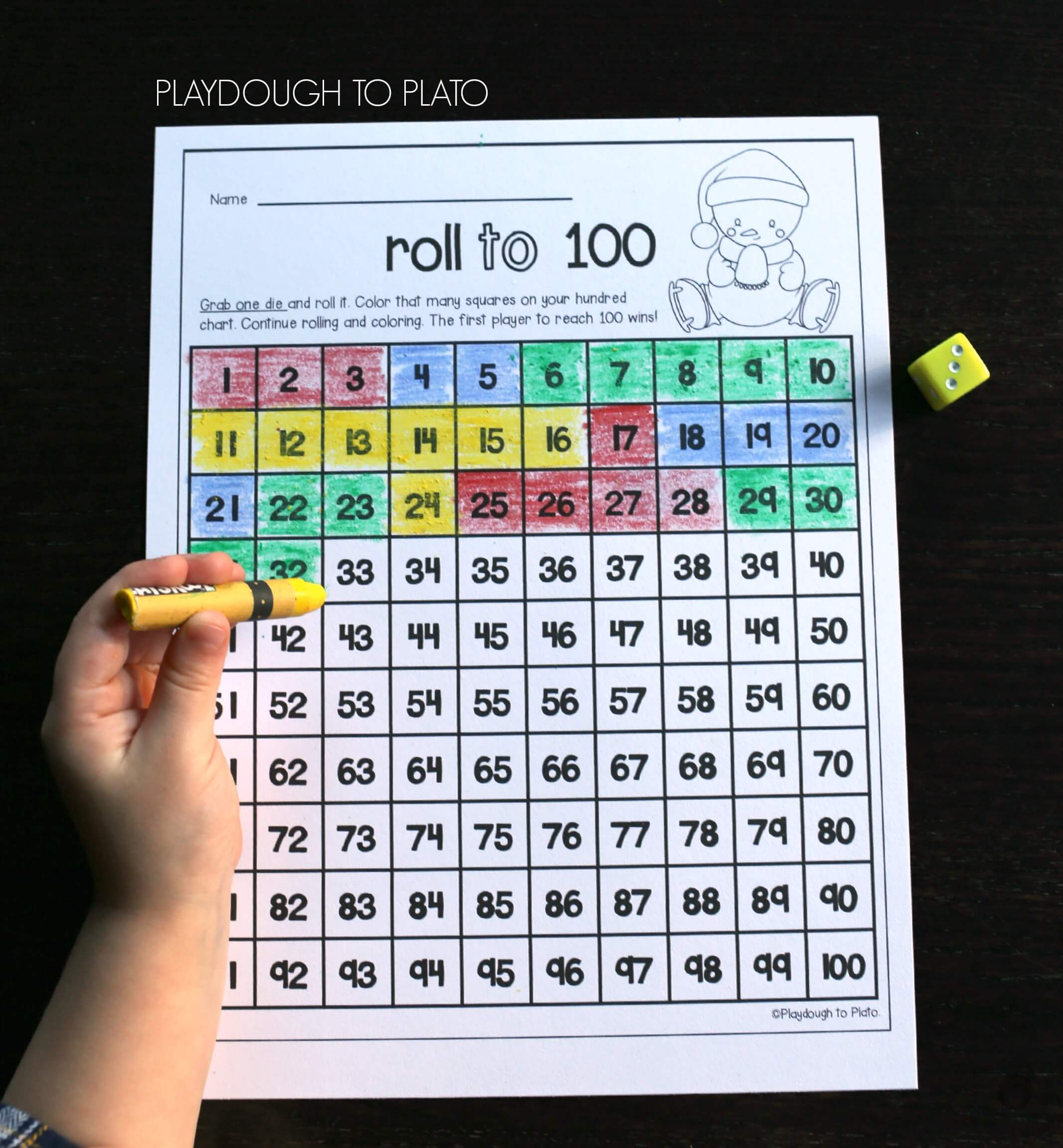 Snowman-Roll-to-100-Fun-kindergarten-number-game. - The Stem Laboratory