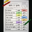 Great way to practice am or pm! Helpful telling time activity for kids.