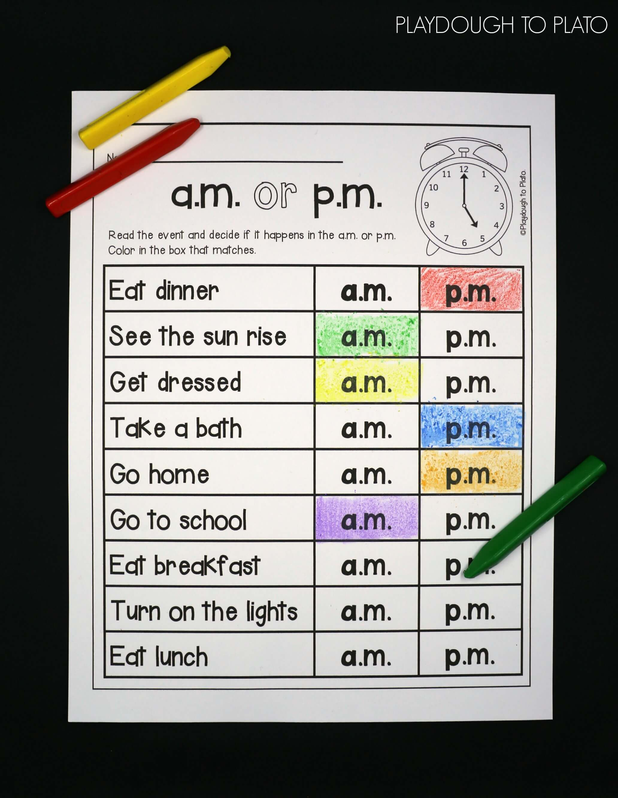 ... way to practice am or pm! Helpful telling time activity for kids