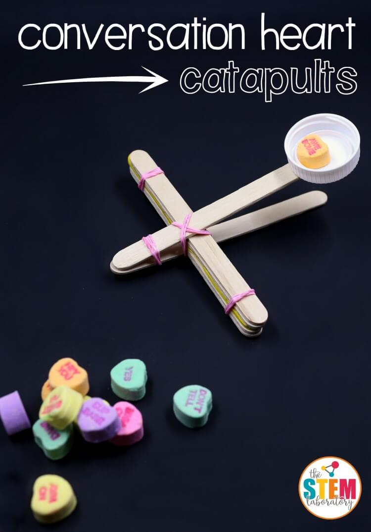 I love these conversation heart catapults! Super fun STEM for Valentine's Day.