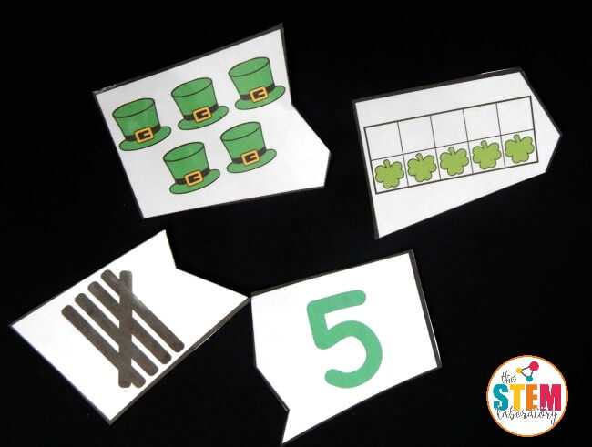 St. Patrick's Day Number Puzzle Pieces