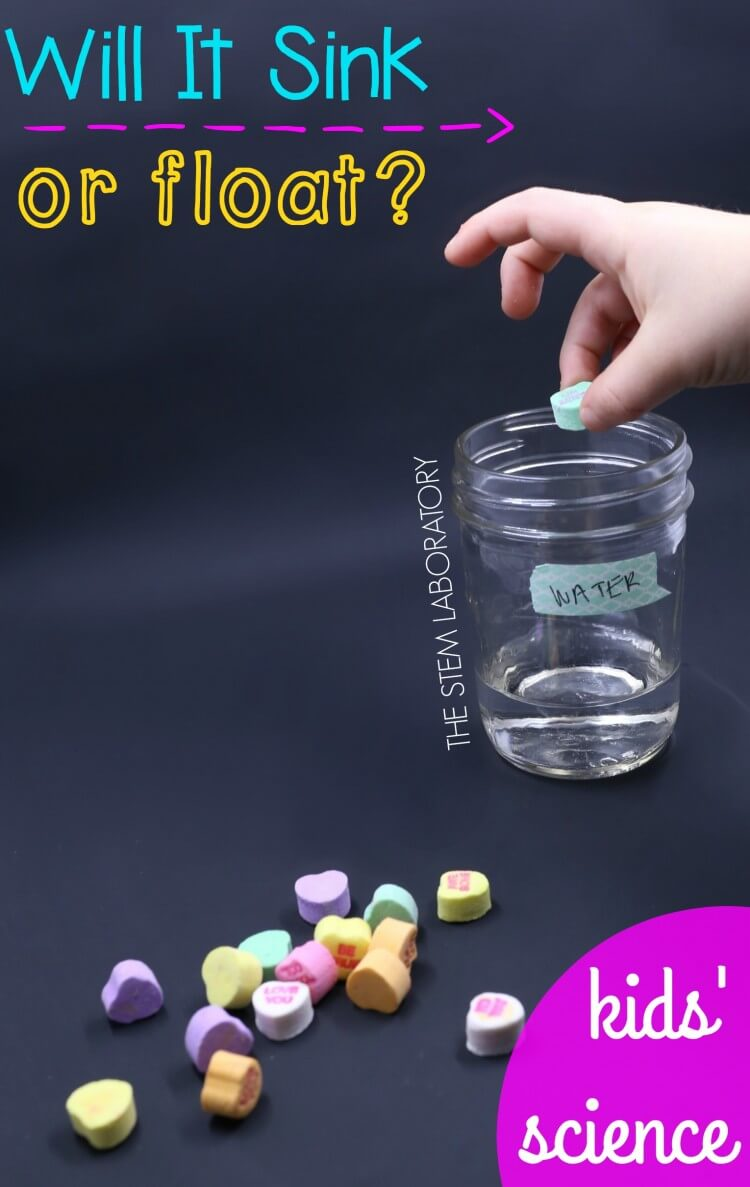 Will It Sink or Float Fun science for kids. And it's perfect for Valentine's Day!