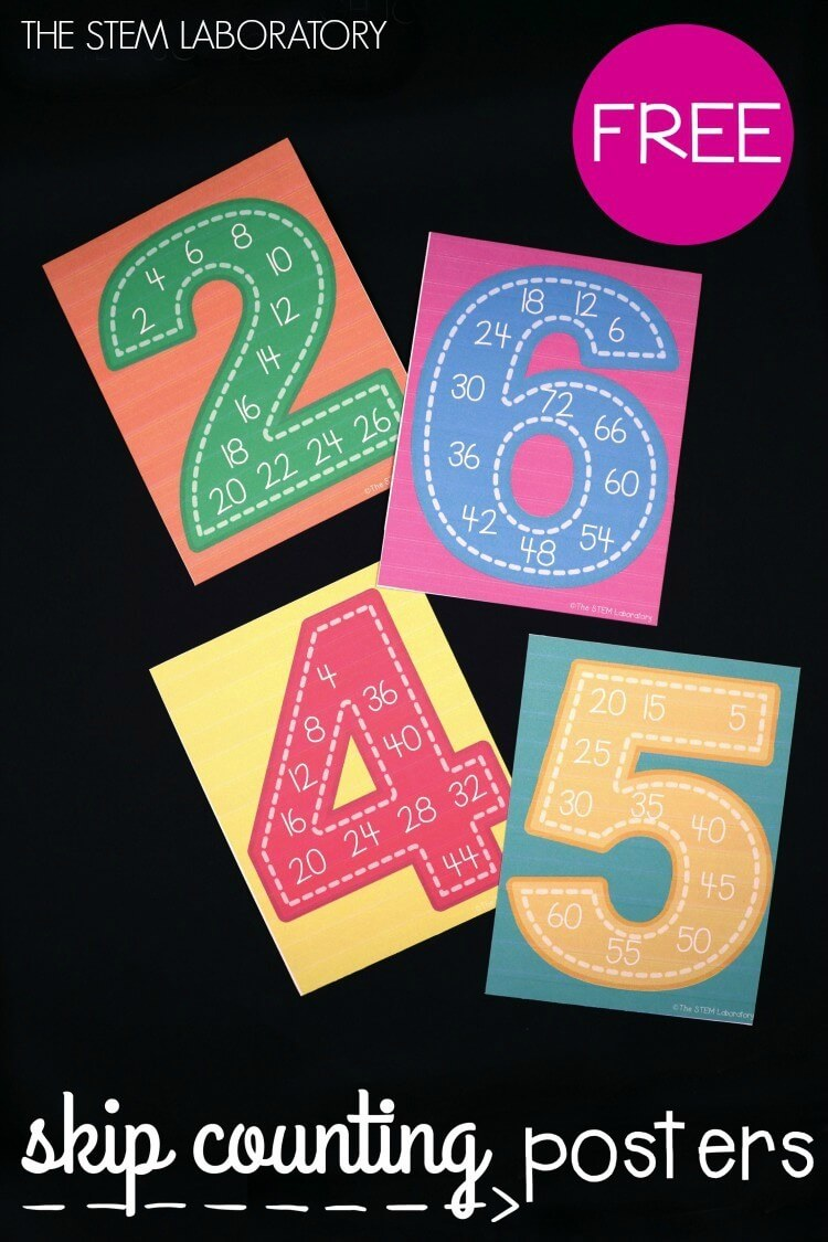 Free Skip Counting Posters! These are perfect for a kindergarten or first grade classroom. Could even use them for teaching multiplication!