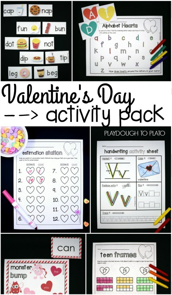 Fun Valentines Day Activity Pack For Preschool And Kindergarten ABC Games Sight Word Activities Conversation Heart Estimating Math Lots Of Ideas