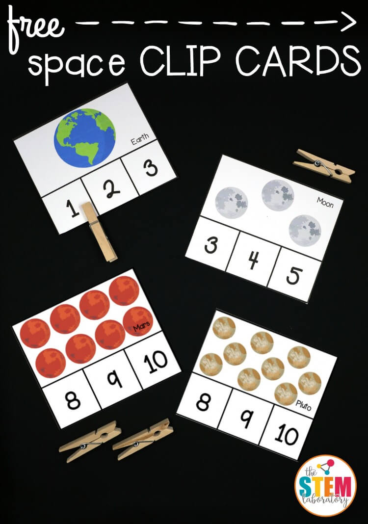 I love these free outer space clip cards! Such a fun science and math activity in one.
