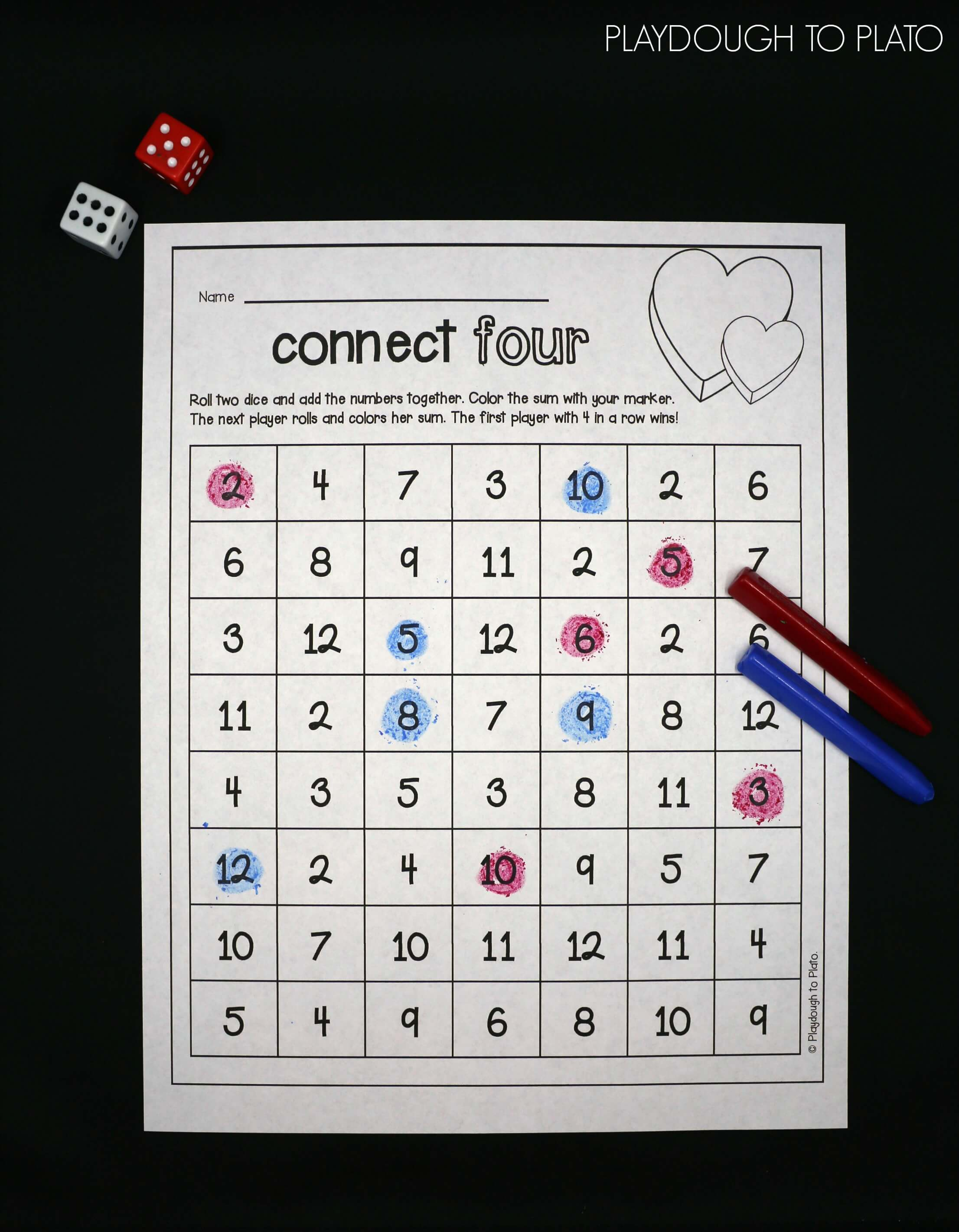 Practice adding with a fun round of Valentine s Day Connect Four