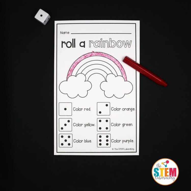 So fun! Roll a rainbow preschool math game.