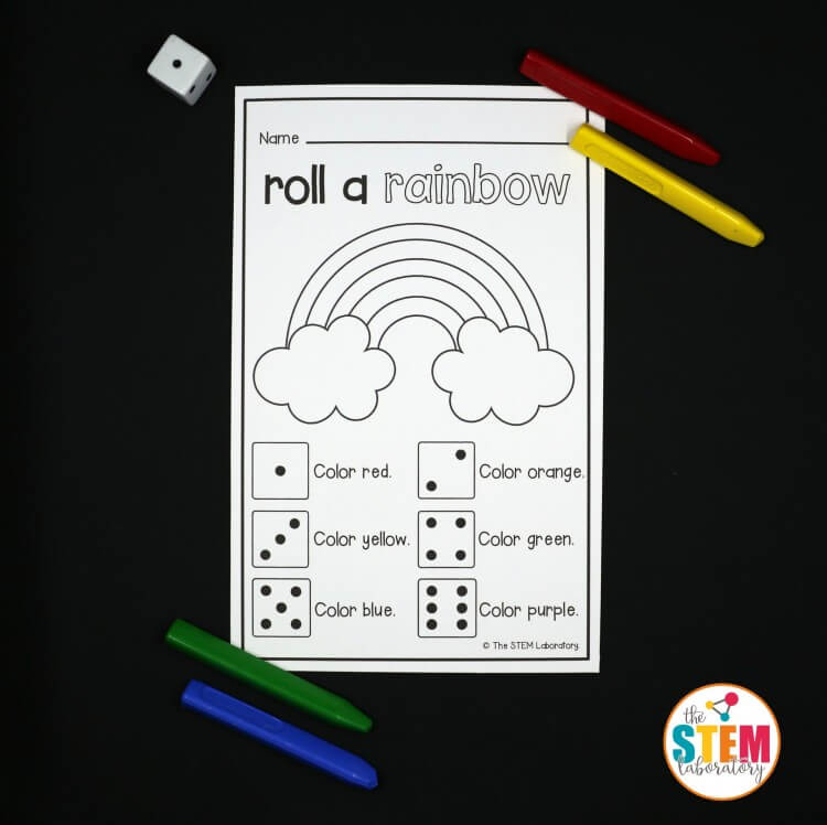 Such a fun preschool game. Roll a rainbow math activity!