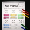 Ten and teen frame sheets! Read the number and use a Q-tip dipped in paint or a crayon to color the teen frame below.