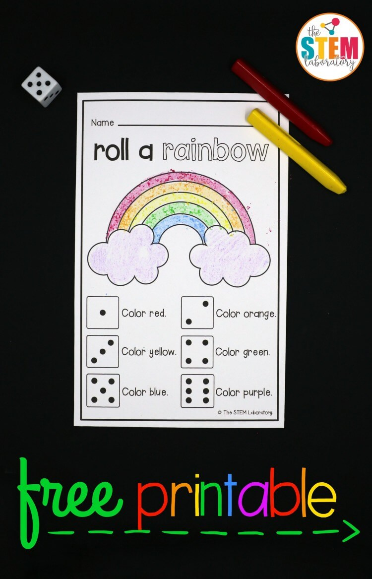 What a fun preschool or kindergarten math game! Roll a rainbow. Great counting and reading game.