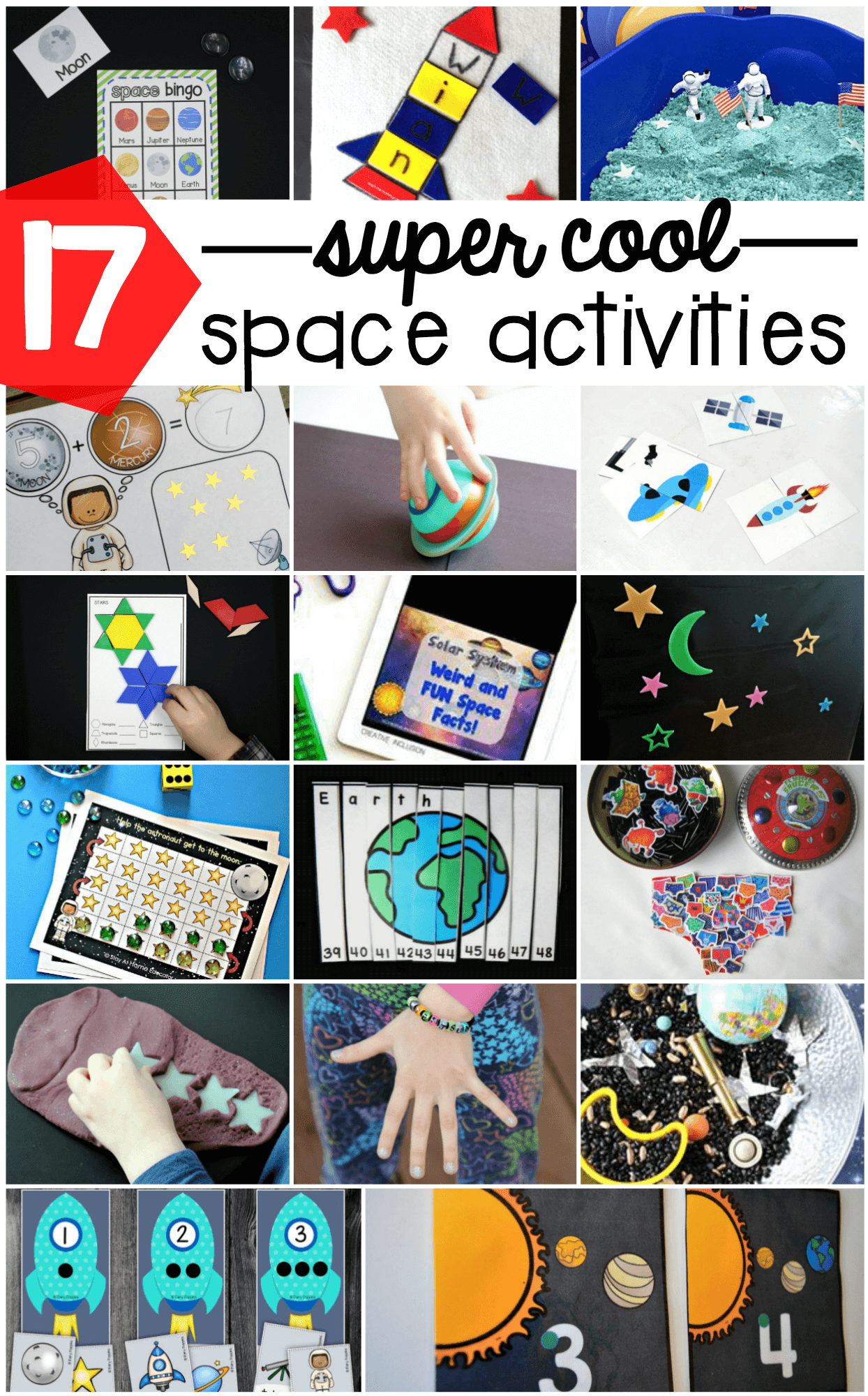 Awesome Space Activities For Kids Math Games Sensory Bins Bingo Name Activities Tons And Tons Of Fun Outer Space Ideas For Preschool Kindergarten And First Grade The Stem Laboratory