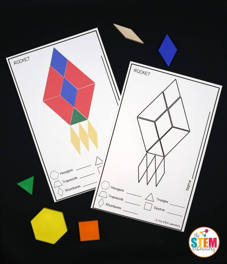 Awesome space pattern block mats for preschool and kindergarten. Fun for a space unit!