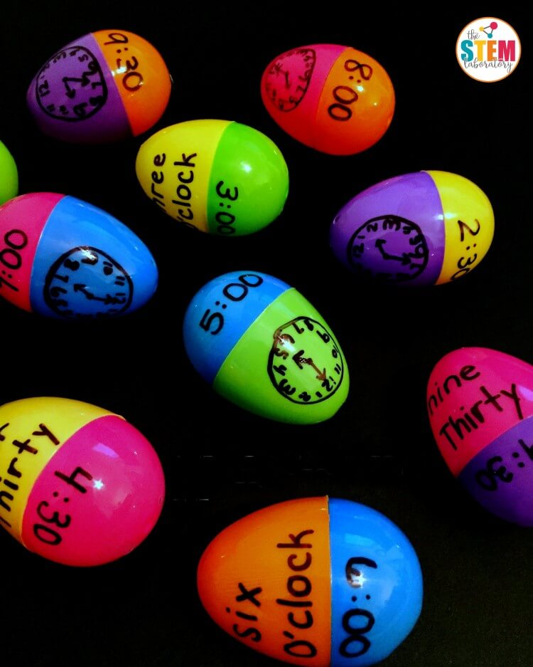 I love this telling time activity for kids! Match up plastic Easter eggs. Such a clever math center or telling time game for kids.