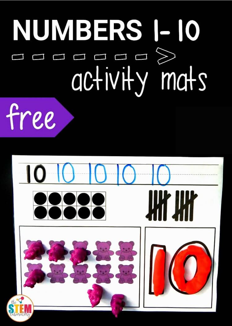 Free 1-10 number activity mats!