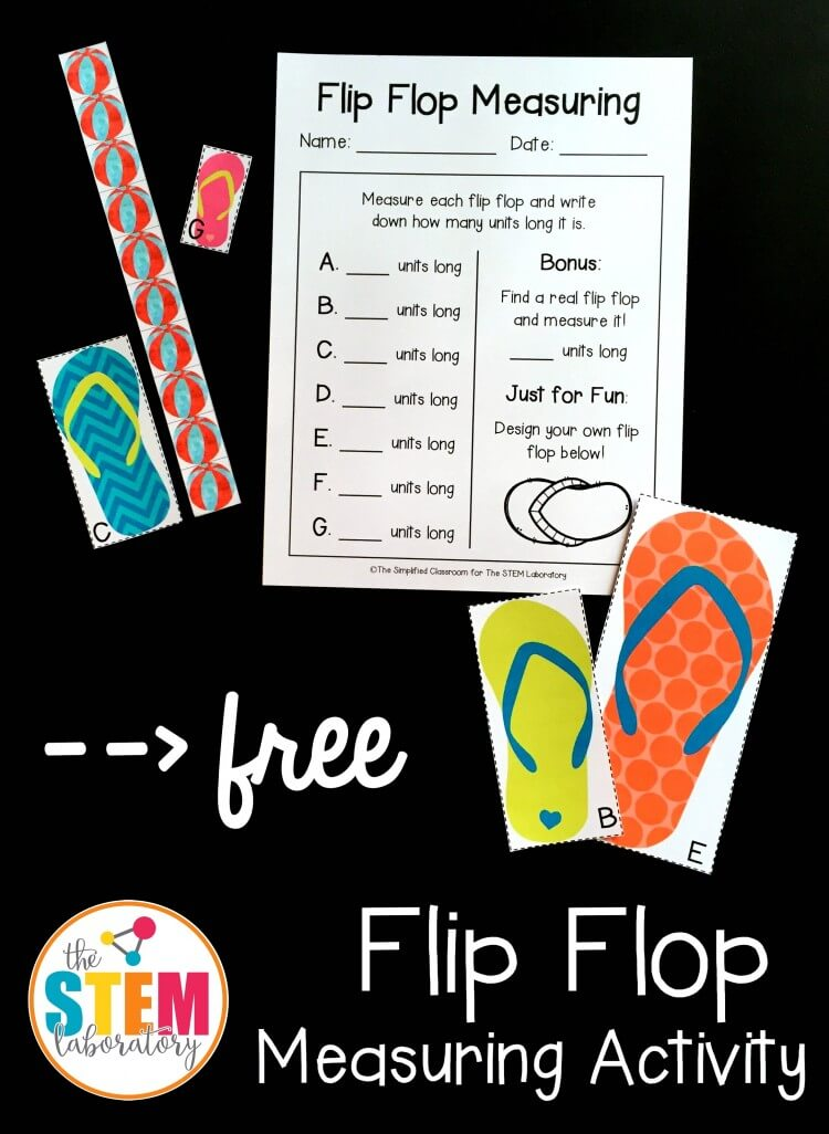 Such a fun measuring activity for summer! Flip flop measuring.