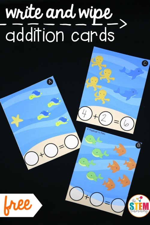 Write and Wipe Addition Cards