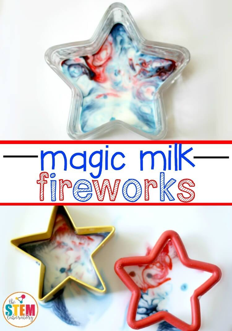 Magic Milk Fireworks. Fun 4th of July science for kids!