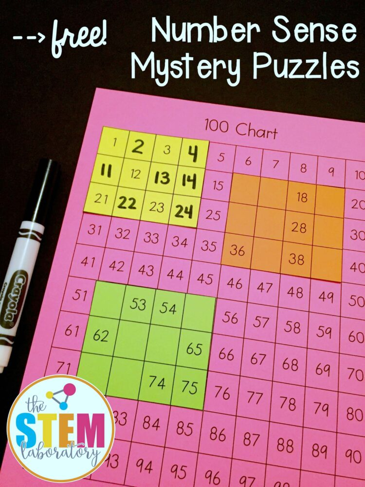 Free number sense mystery puzzles!