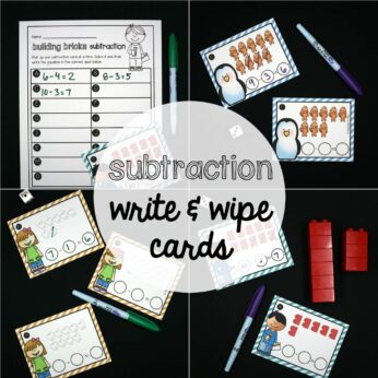 Subtraction Write and Wipe Cards