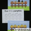 3 versions of the 5 Little Pumpkins little readers for easy printing