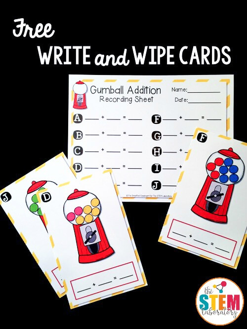 Gumball Write and Wipe Addition Cards