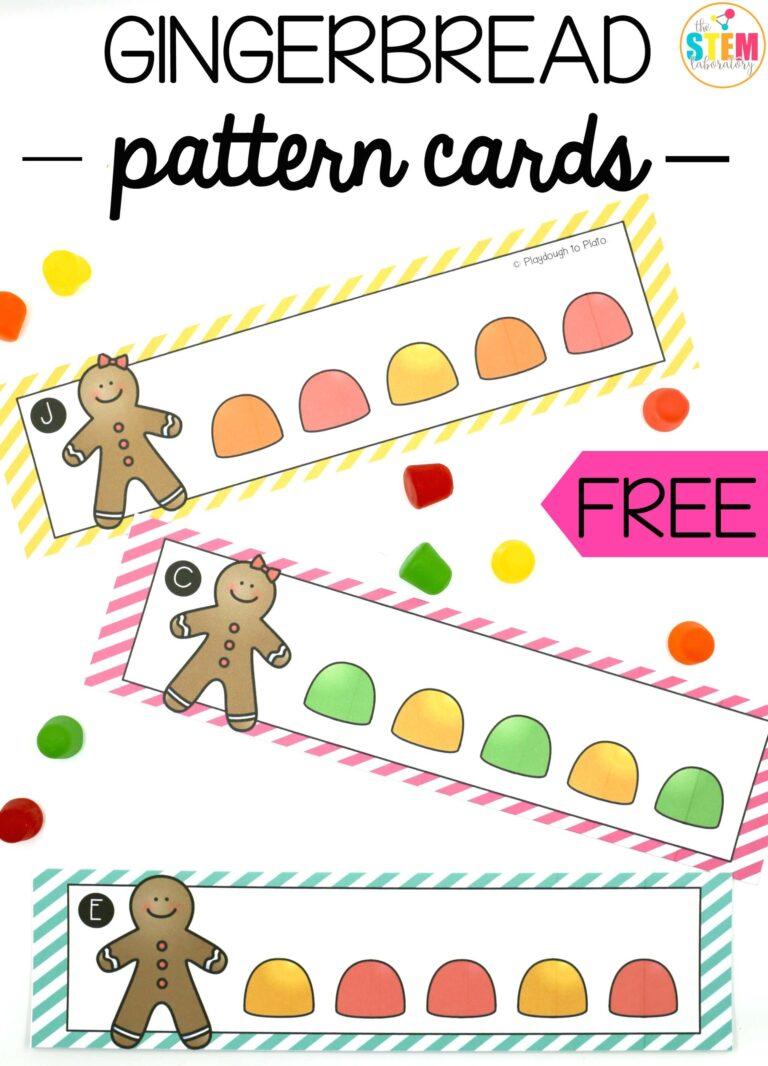 Tarjetas de patrones y series con gominolas de galletas navideñas