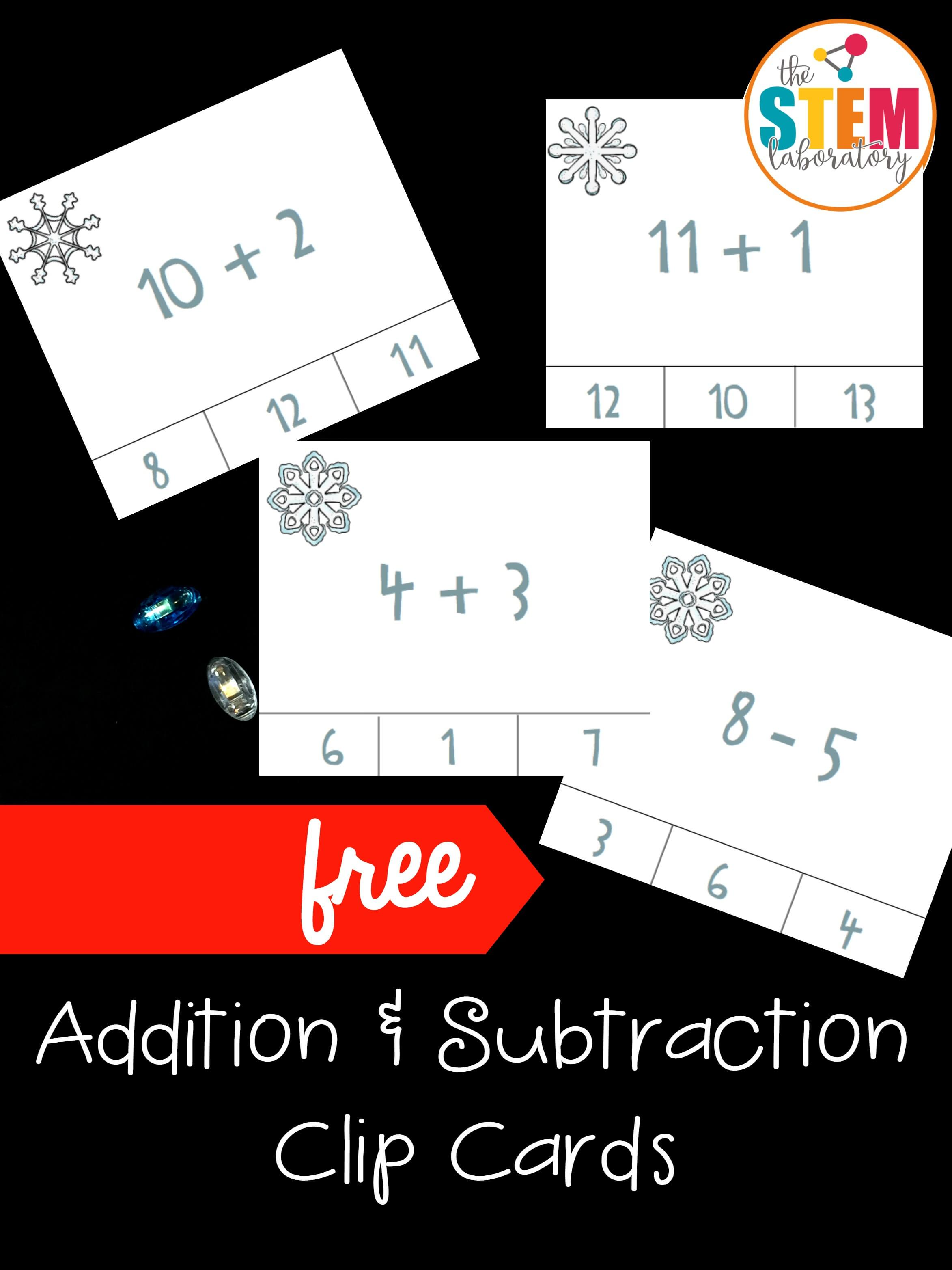 Addition and Subtraction Clip Cards - The Stem Laboratory