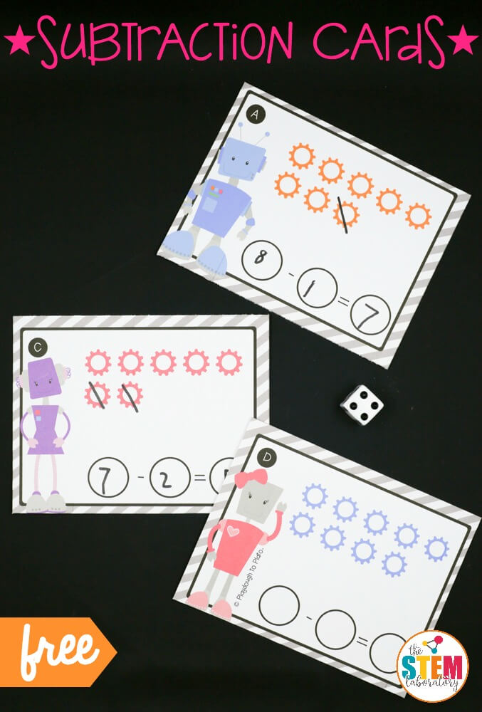 Robot Subtraction Cards