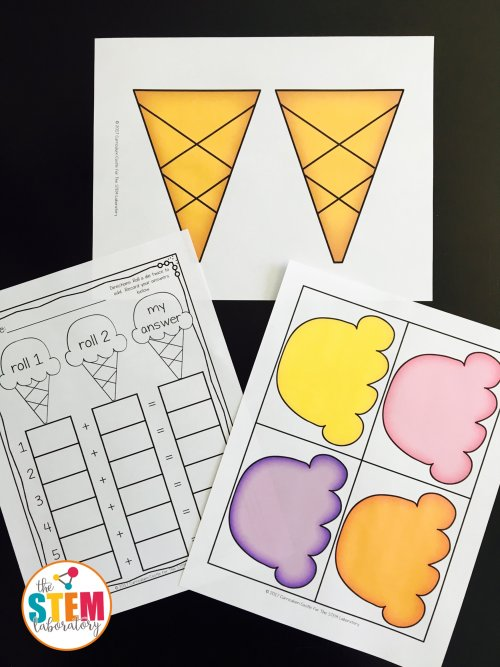 Prepping for Ice Cream Roll and Scoop a free hands-on addition game by The STEM Laboratory