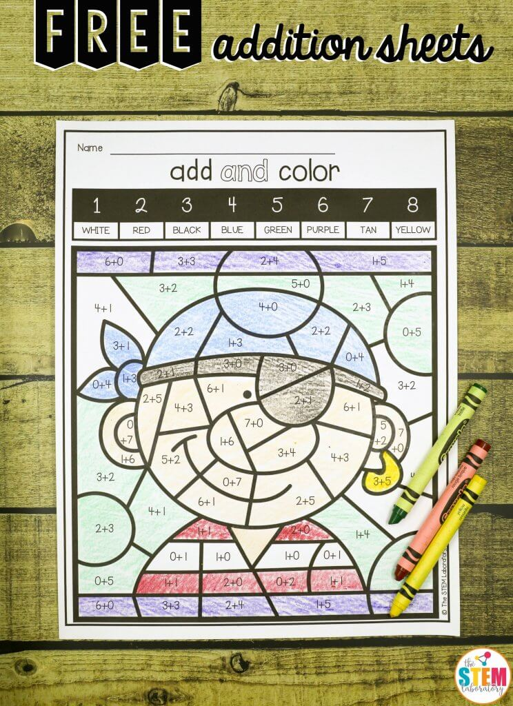Color by Code Addition Sheets - The Stem Laboratory