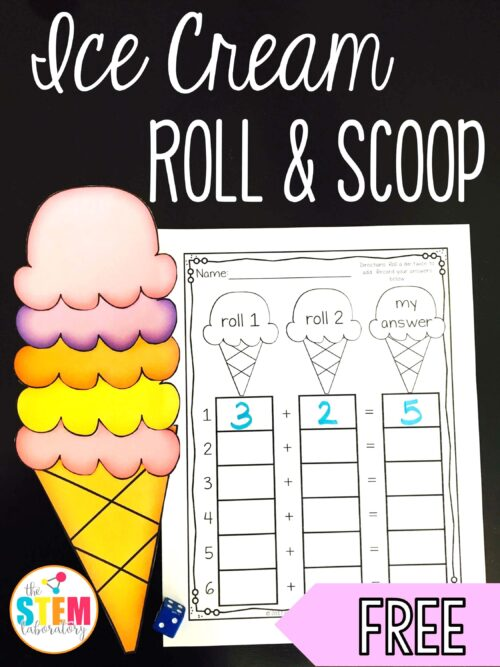 Ice Cream Roll and Scoop a free hands-on addition game by The STEM Laboratory