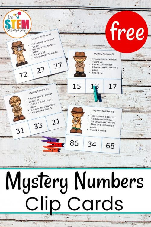 Mystery Number Clip Cards