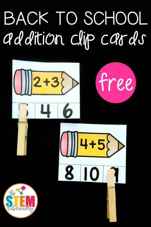 Back to School Addition Clip Cards