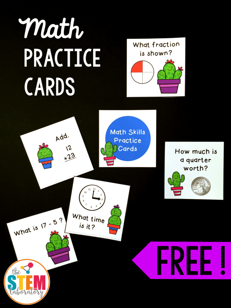 Cactus Math Skills Practice Cards - The Stem Laboratory