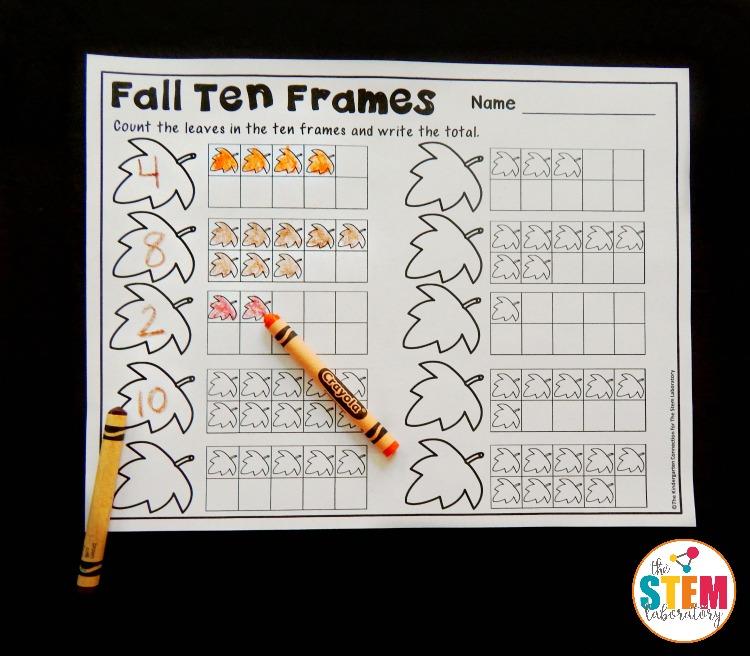 Fall Ten Frame Printables - The Stem Laboratory