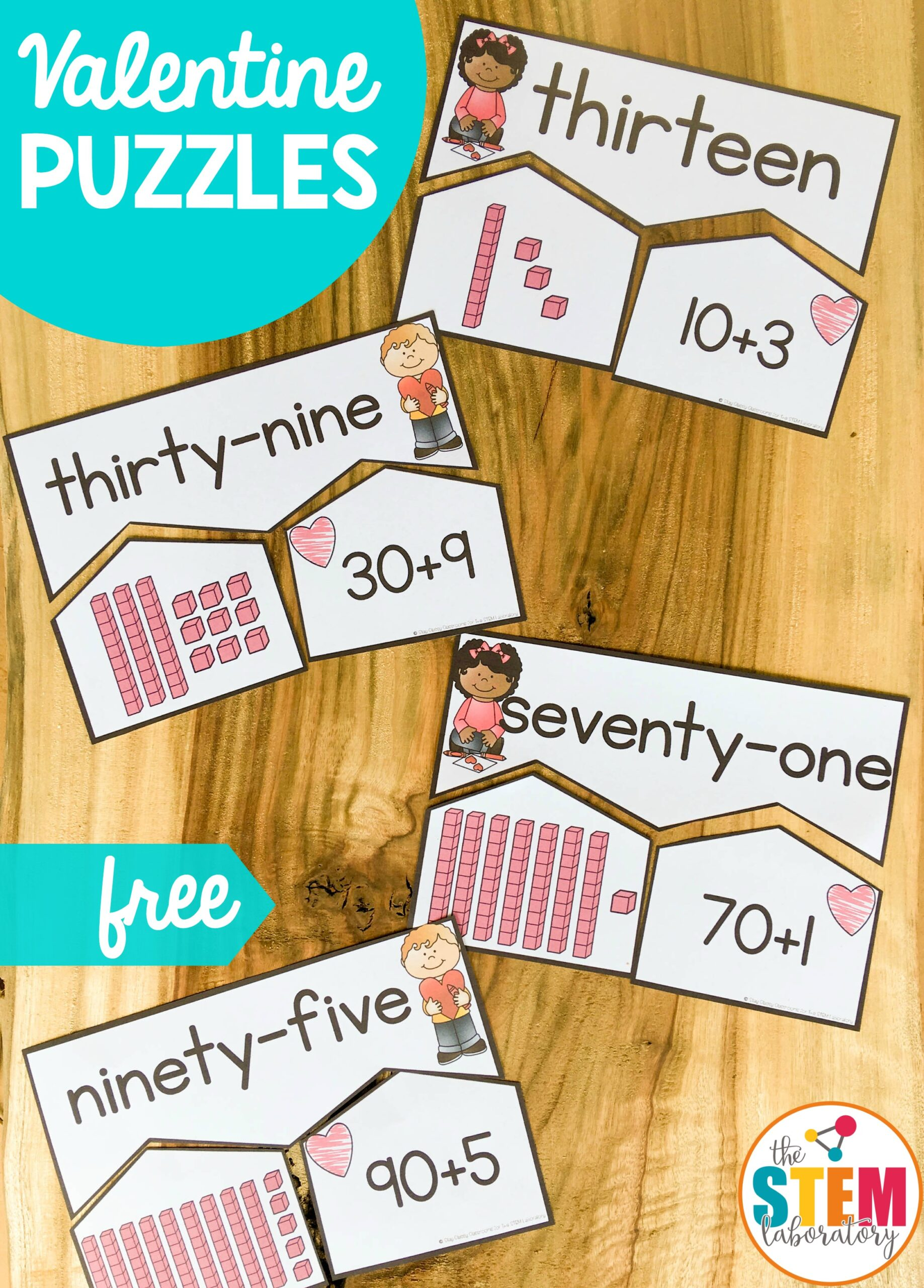 Valentine's Number Puzzles – Numbers to 100