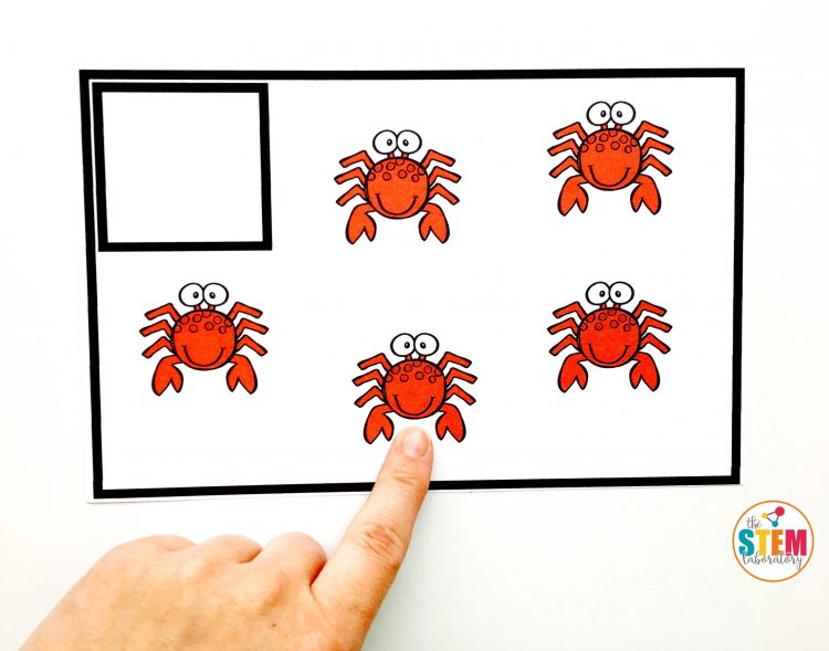 Free Summer Counting Cards by The STEM Laboratory help kids work on counting items, like these cute crabs.