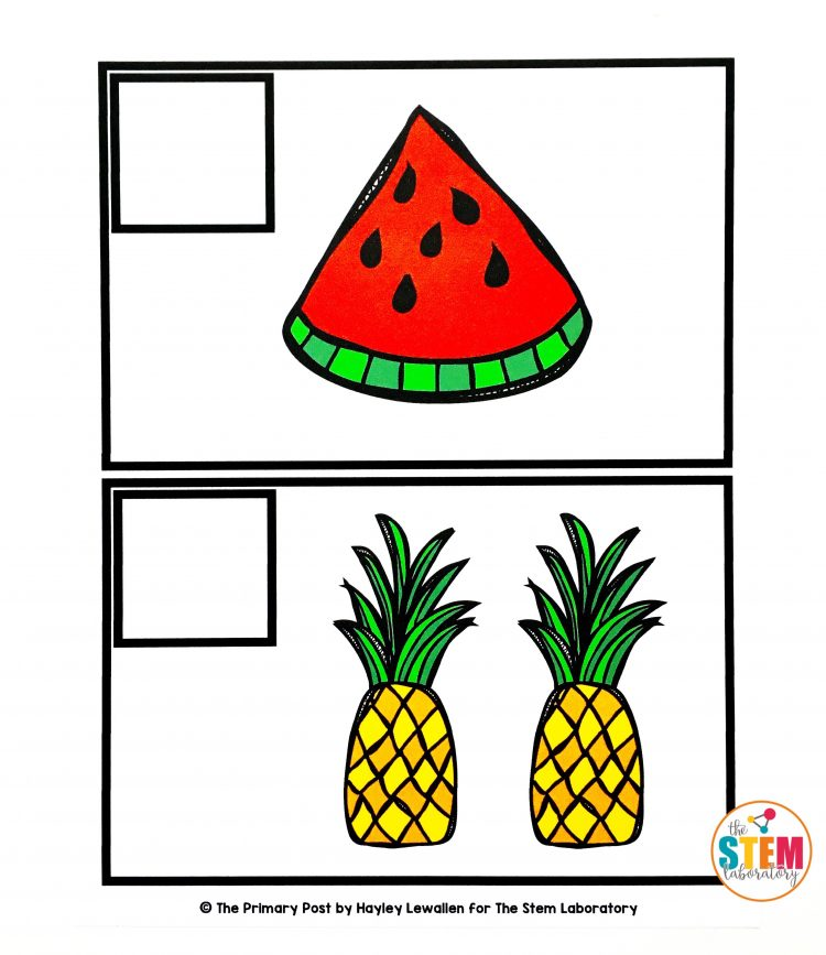 Free Summer Counting Cards by The STEM Laboratory including this sweet watermelon and pineapple themed card.