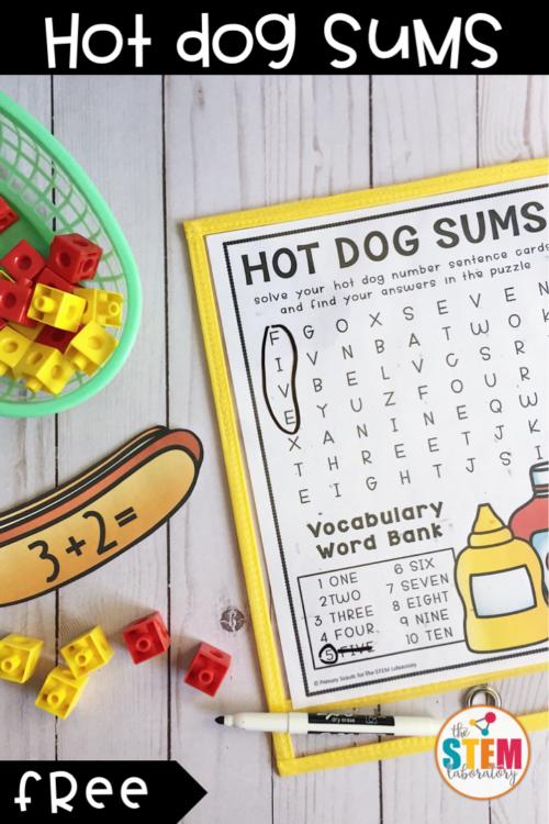 Hot Dog Addition Cards