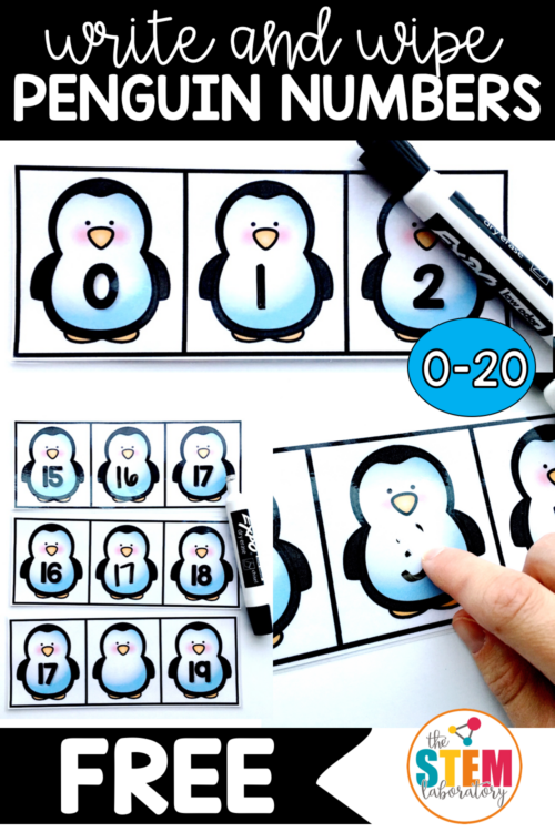 Write and Wipe Penguin Numbers