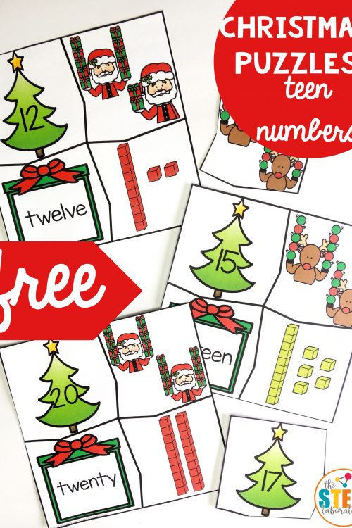 Christmas Teen Number Puzzles