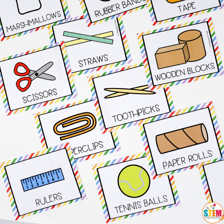 Colorful STEM supply labels that are perfect for organizing your STEM center!