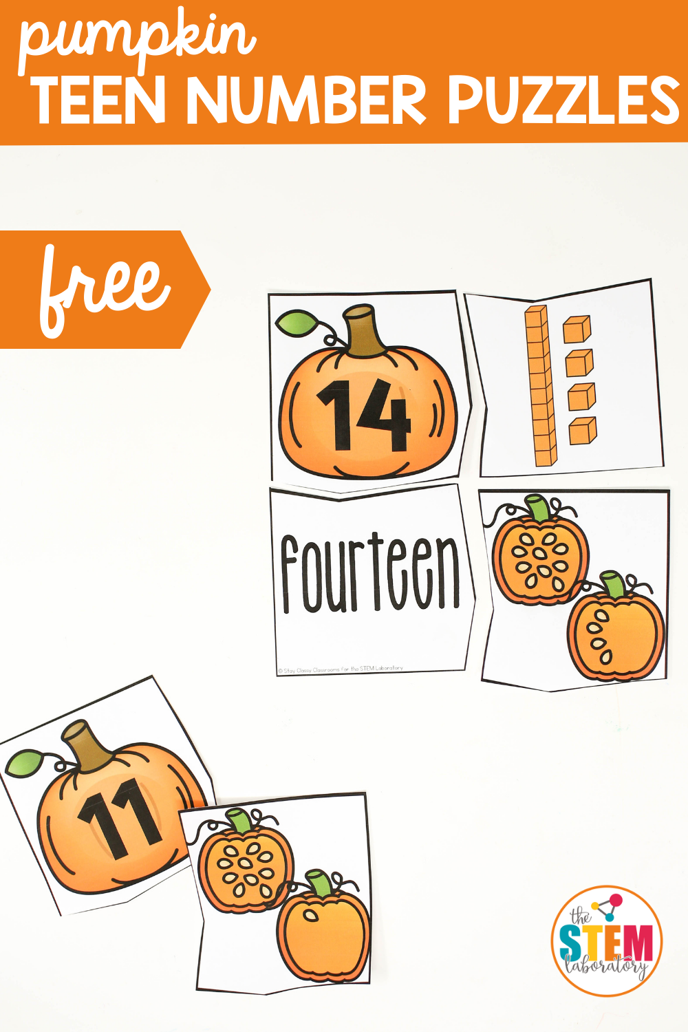 Pumpkin Teen Number Puzzles