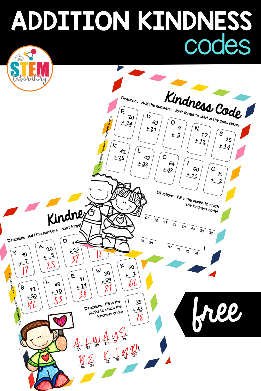 Addition Kindness Codes Activity