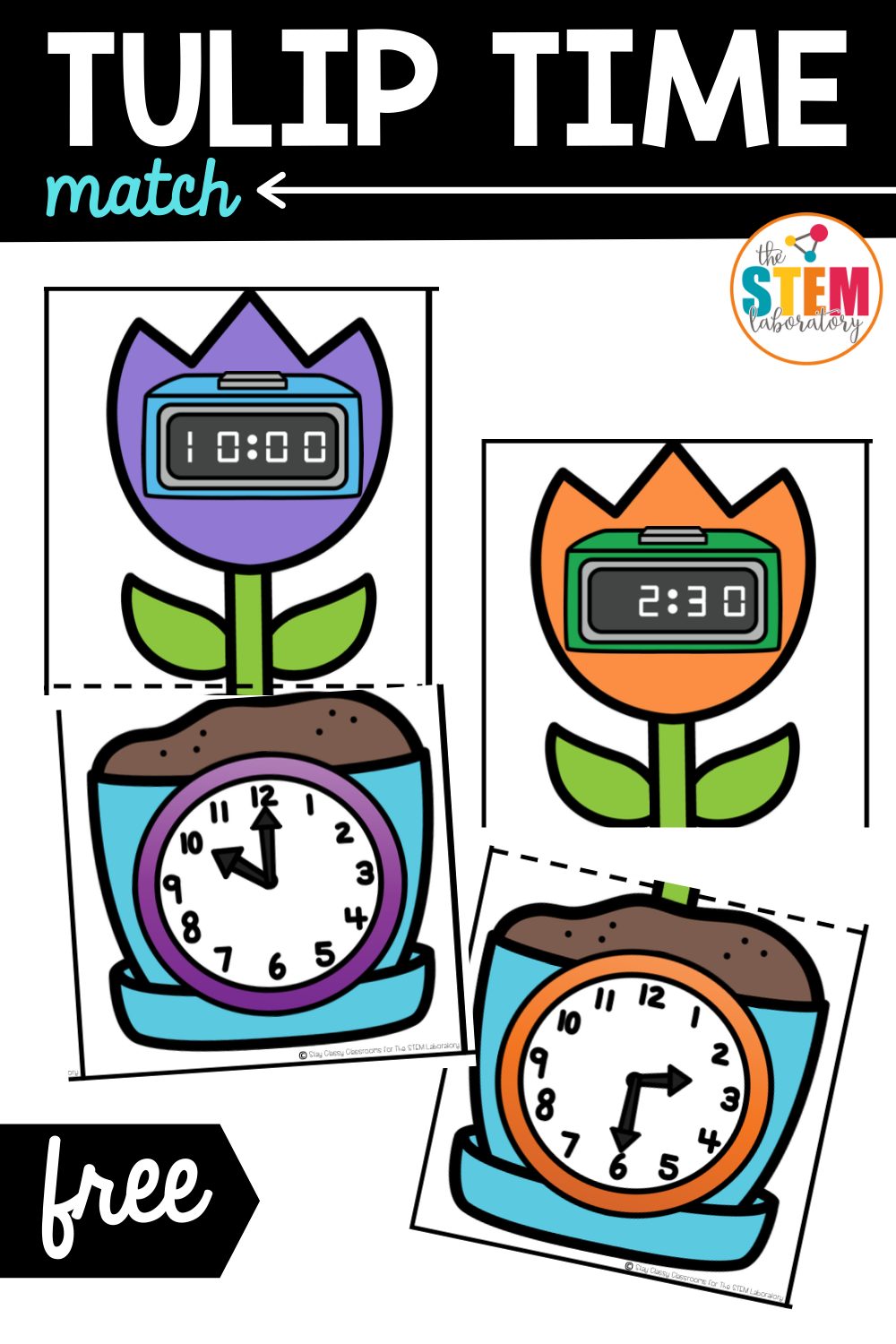 Telling Time Activity – Tulip Time Match
