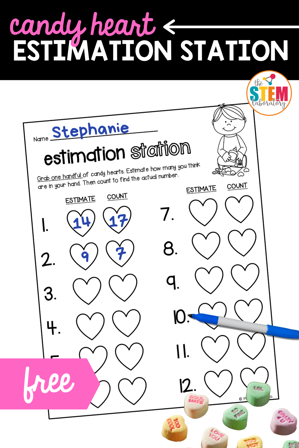 Candy Heart Estimation Station Sheet