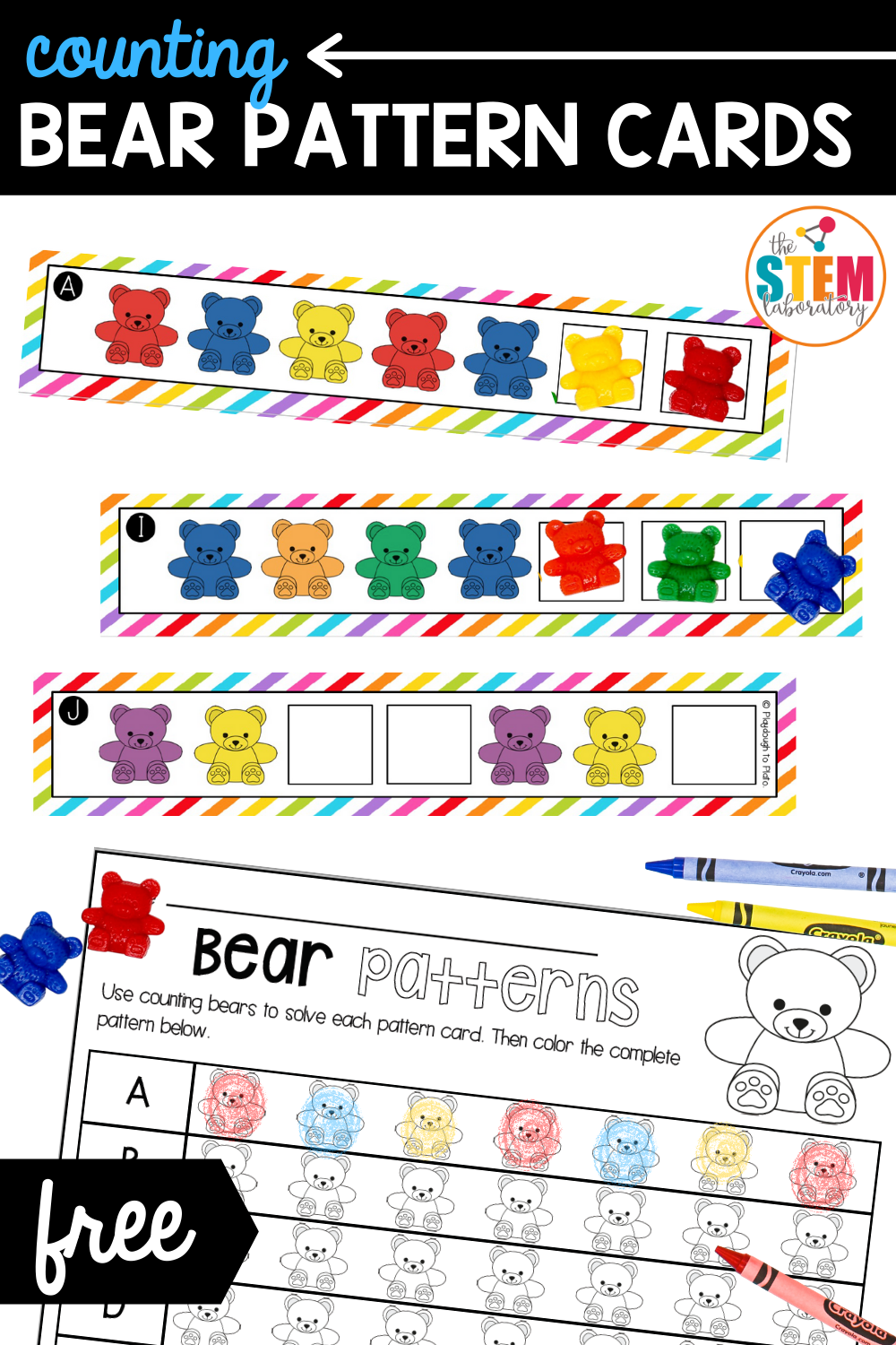 Counting Bear Pattern Cards